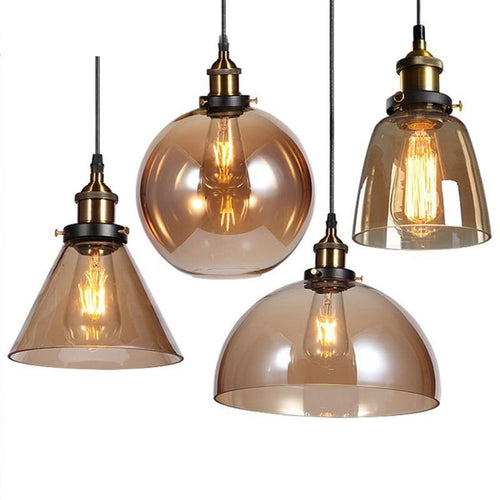 Daytrends Pendant light Wholesale Vintage Pendant Lights Amber Glass Pendant Lamp E27/E26 Light Bulb Dinning room Kitchen  Home Decor Planetarium Lamp