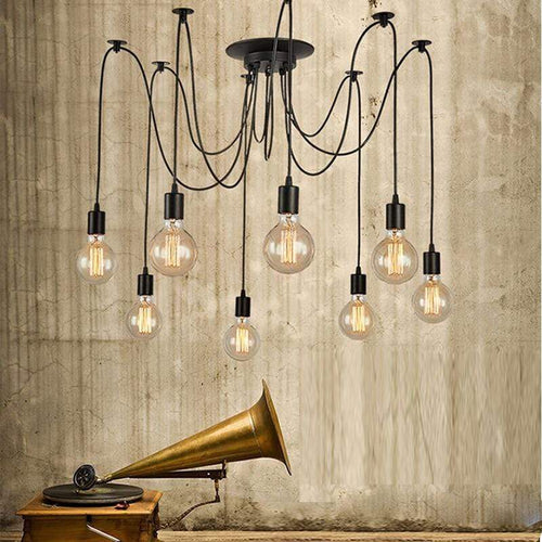 Daytrends Pendant light Wholesale Vintage Spider Pendant Lamp Hanging Lamp Length Adjustable Retro E27/E26 Loft Style Classic Decorative LED Home Lighting
