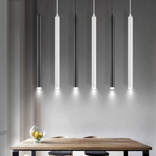 Daytrends WHITE / 310mm / Cold White led Pendant Lamp Long Tube light Kitchen Island Dining Room Shop Bar Counter Decoration Cylinder Pipe Pendant Light Kitchen Lamp