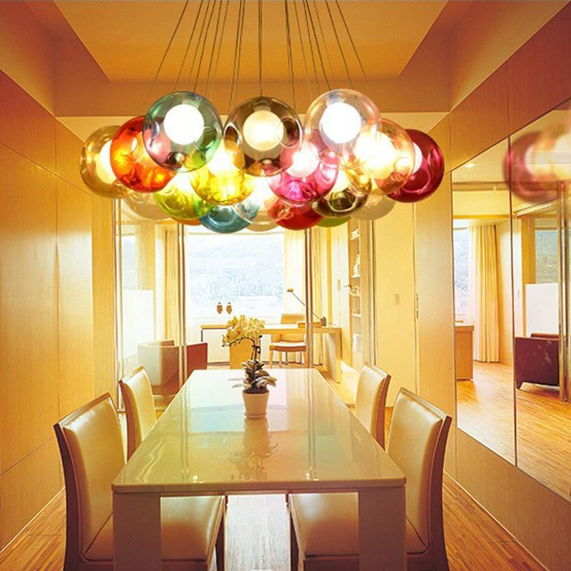 wholesale Creative Design Modern LED Colorful Glass Ball Pendant Light