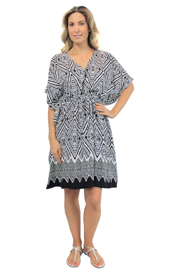 "Batwing Cover Up ""Diamond Border"" print"