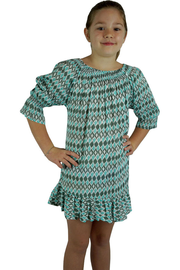 Girls Luna Dress Diamond Print