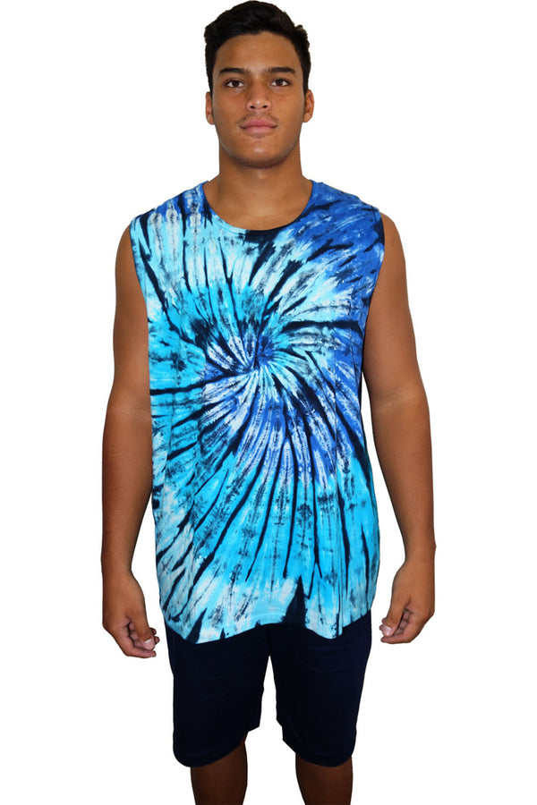 "Unisex Tie Dye Muscle Shirt ""Blue Meanies"""