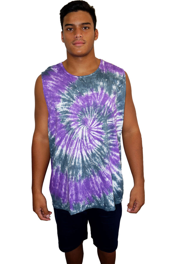 "Unisex Tie Dye Muscle Shirt ""Purple Haze"""