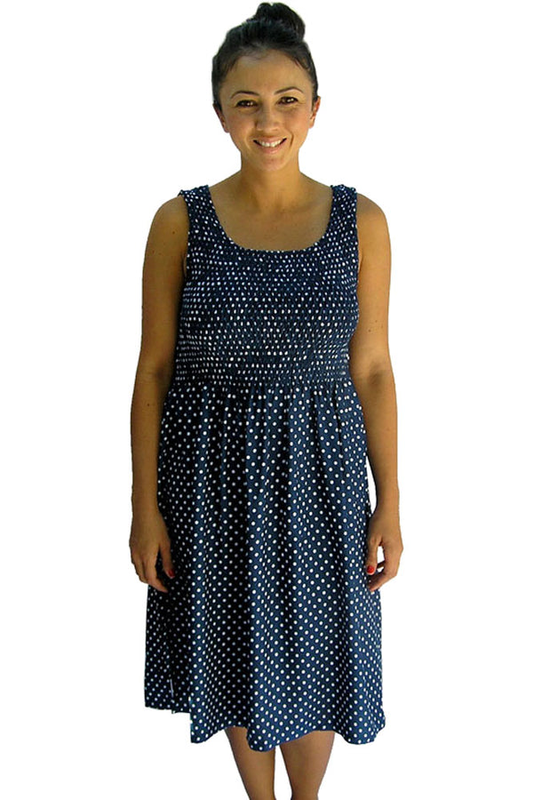 Polka Dot Singlet Smock Dress