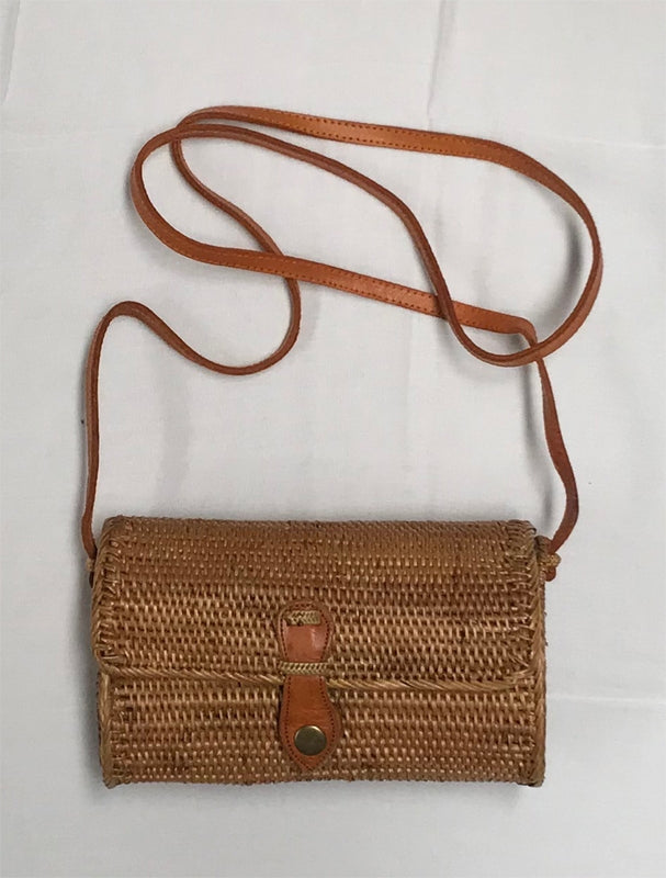 Rectangle Woven Rattan Bag (20cm long)