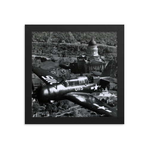 Framed poster - Military fighter flies over capital in 1945.