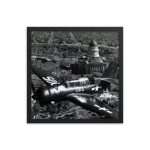 Load image into Gallery viewer, Framed poster - Military fighter flies over capital in 1945.