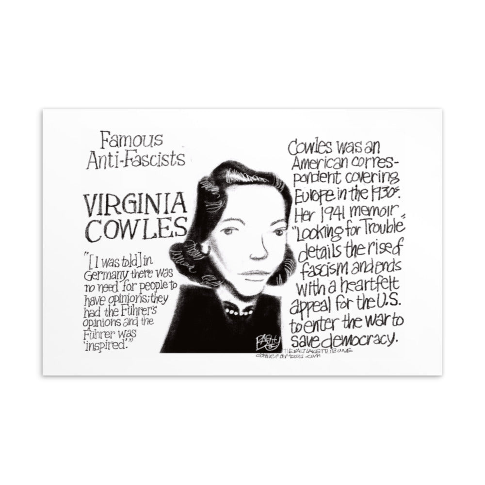 Famous anti-fascist postcard - Virginia Cowles