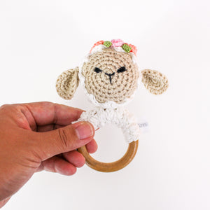 Rattle - Crocheted Lamb
