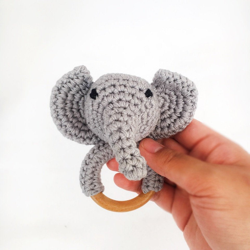 Rattle & Teether - Crochet Elephant