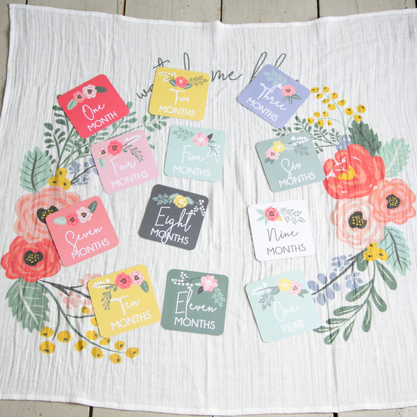 Milestone Blanket and Card Set - Bloom