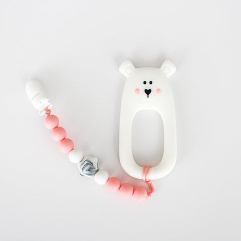 Teether & Paci Clip - Bear