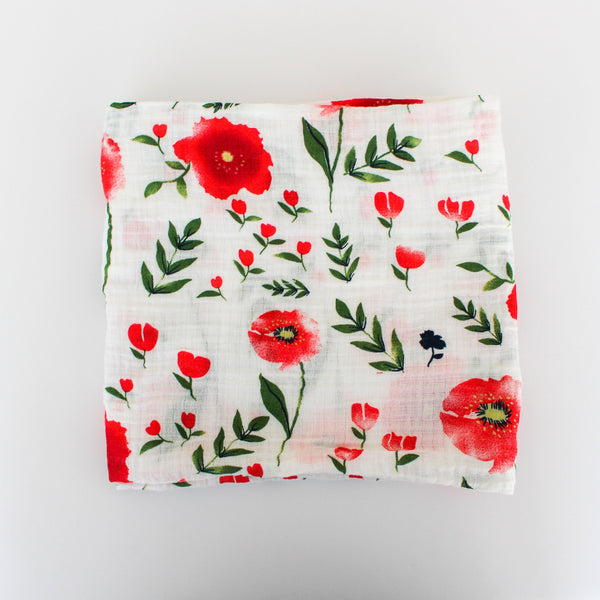Organic Cotton Muslin Swaddle - Poppy Floral