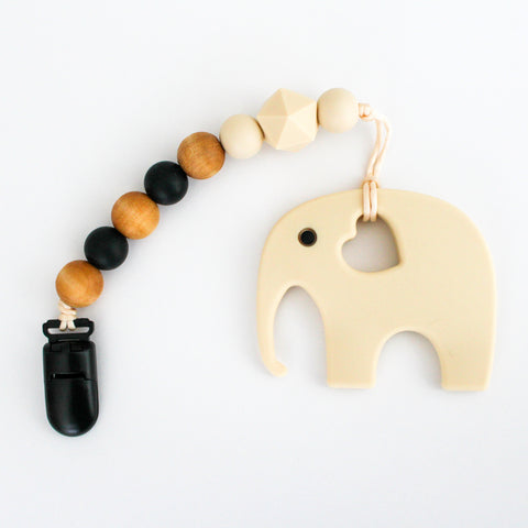 Teether & Paci Clip - Elephant