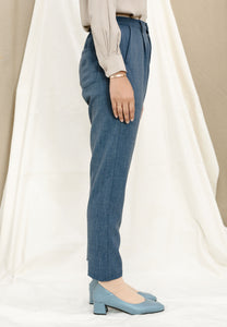 Sawda Tapered Pants (Grid Blue)