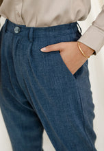Load image into Gallery viewer, Sawda Tapered Pants (Grid Blue)