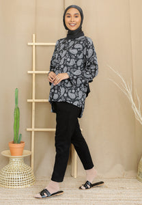 Irsaa Printed Top (Black - Paisley)
