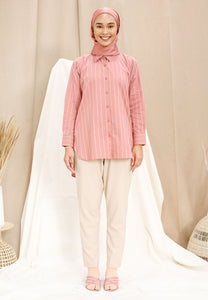 Qamar Stripe Top (Rose Pink)