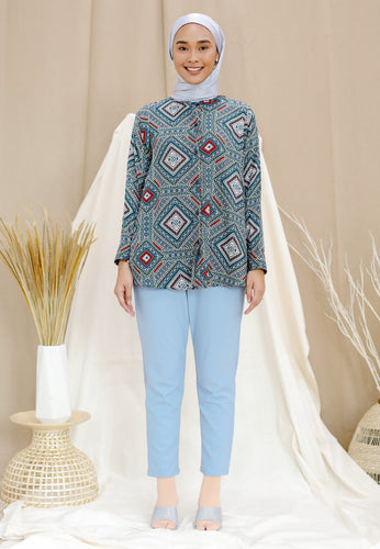 Qasrina Printed Top (Green Turquoise)