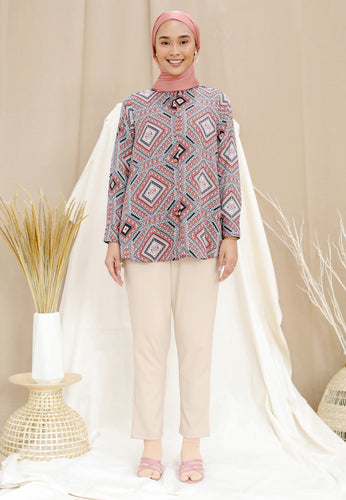 Qasrina Printed Top (Brick Red)