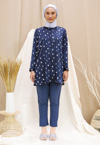 Naarisa Printed Top (Navy Blue)