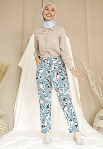 Naflaa Tapered Pants (Earth Blue)