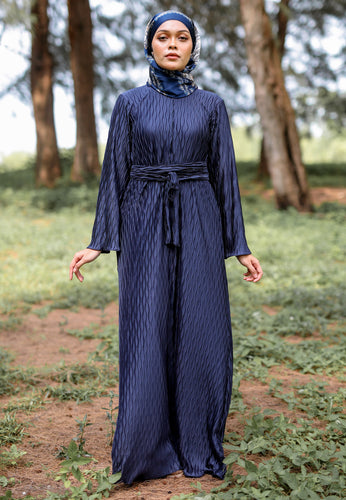 Kaleela Crumple Dress (Dark Blue)