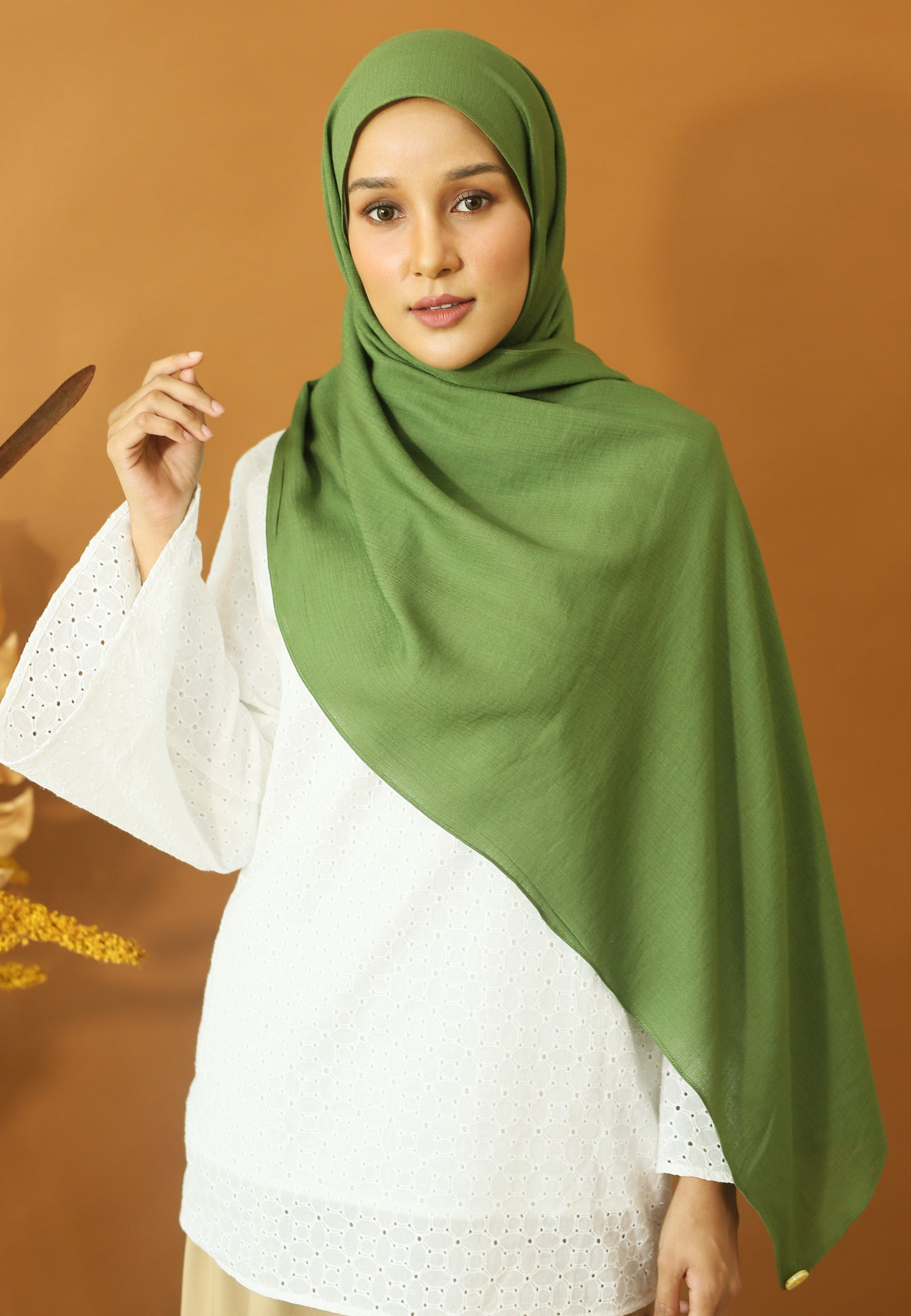 Atiyya Cotton Shawl (Olive Green)