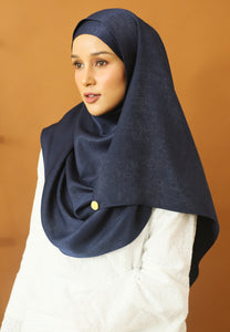Hasnaa Cotton Shawl (Navy Blue)