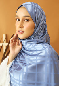 Qisma Satin Shawl (Ash Blue)