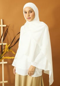 Nisma Satin Shawl (White)