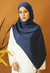 Nisma Satin Shawl (Navy Blue)