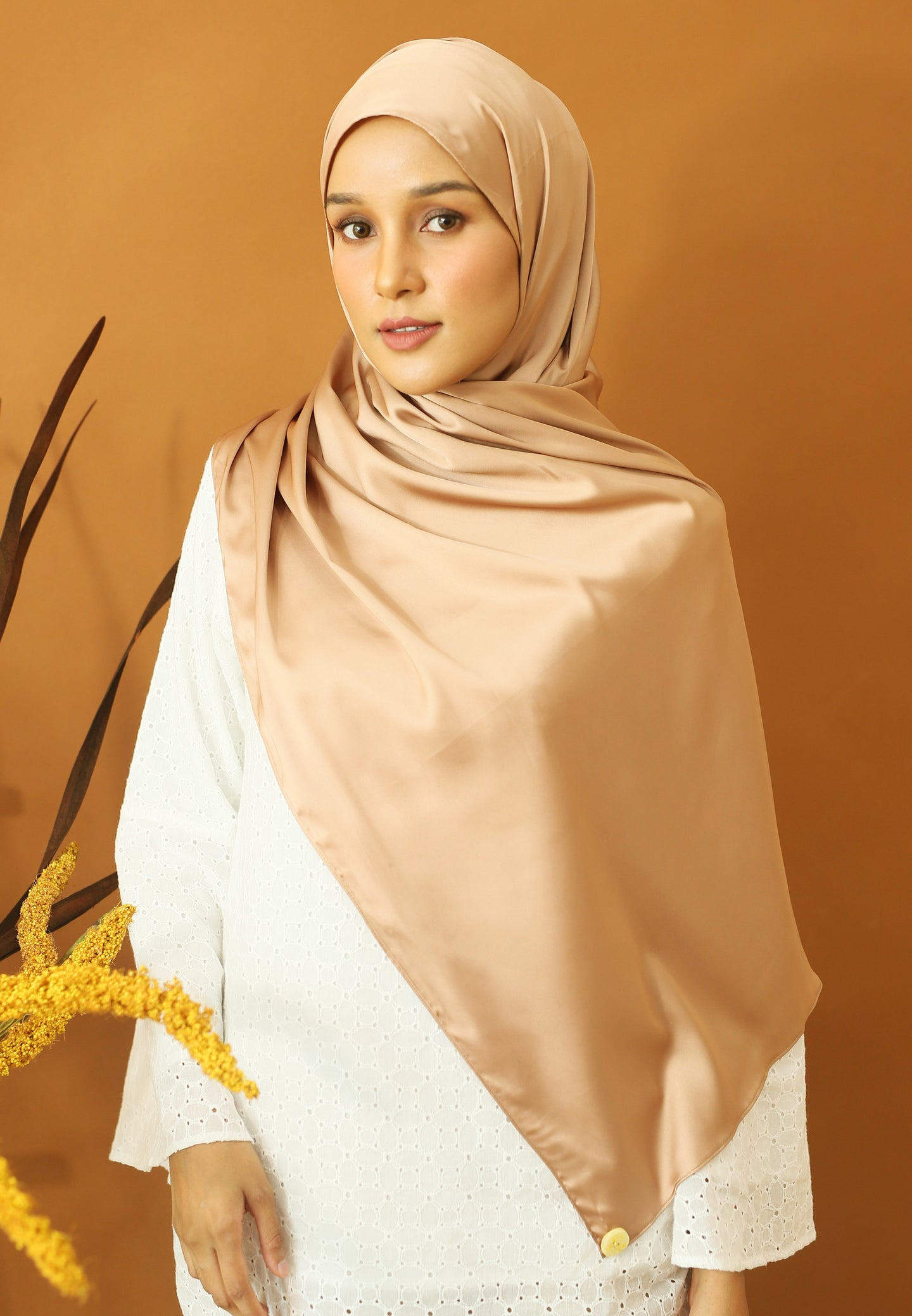 Miska Satin Shawl (Nude Brown)