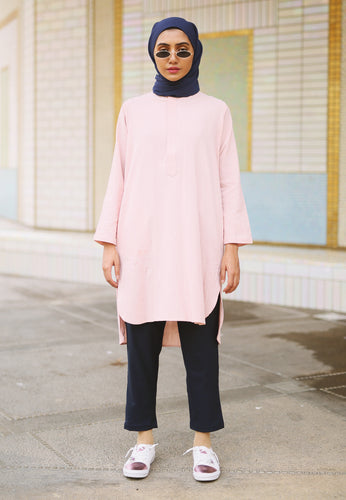 Mahdia Linen Top (Dusty Pink)