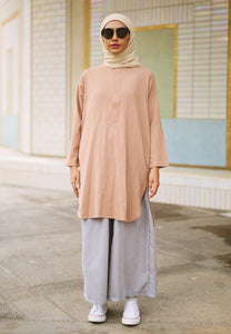 Mahdia Linen Top (Ash Brown)