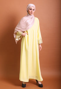 Hadya Laced Abaya (Soft Yellow)
