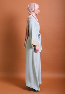 Hadya Laced Abaya (Dusty Green)