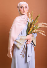 Load image into Gallery viewer, Hadya Laced Abaya (Greyish Blue)