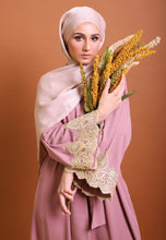 Load image into Gallery viewer, Hadya Laced Abaya (Brownish Pink)
