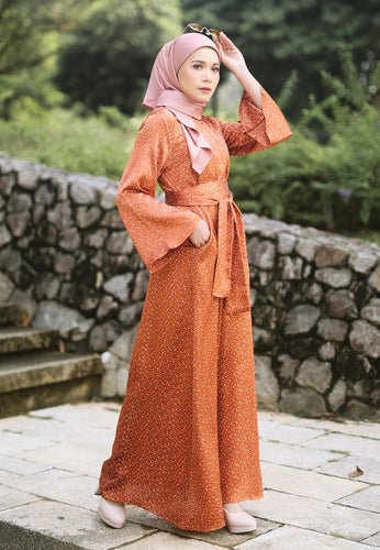 Faresa Printed Dress (Orange)