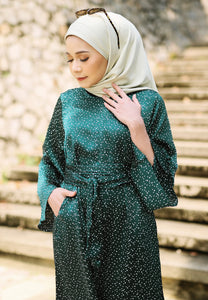Faresa Printed Dress (Emerald Green)