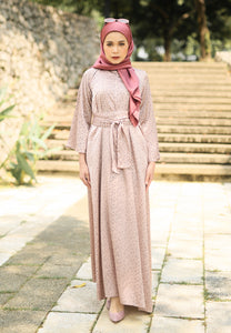 Faresa Printed Dress (Nude Brown)