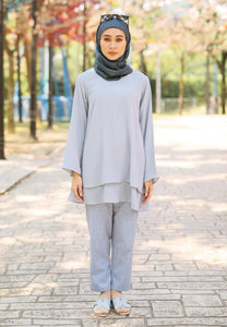 Leeya Layered Top (Greyish Blue)