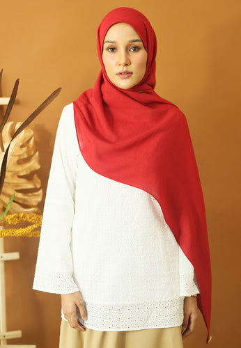 Atiyya Cotton Shawl (Rose Red)