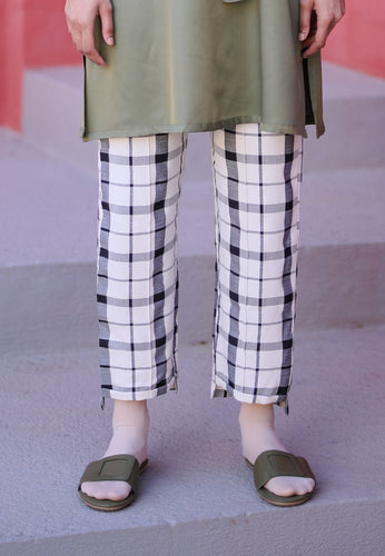 Reesa Checkered Pants (White)