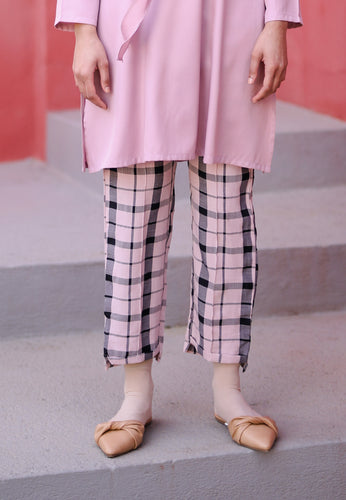 Reesa Checkered Pants (Soft Pink)