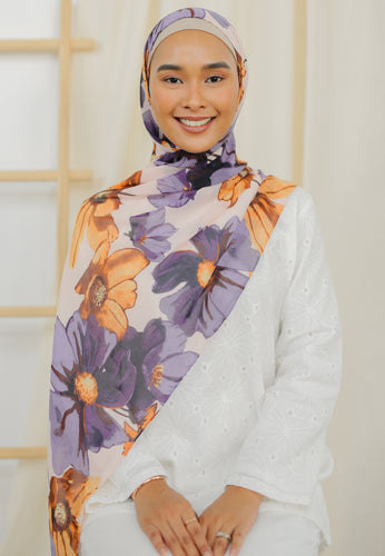 Rawdha Flower Shawl (Purple)