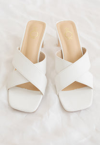 Ava Cross Mules (White)