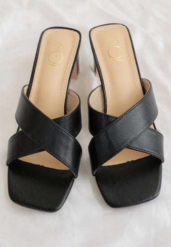 Ava Cross Mules (Black)